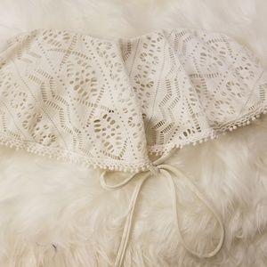 White/Beige Bandeau Bikini Top